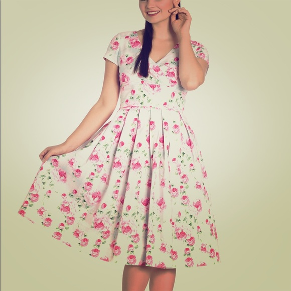 f065f0c92a36 Hell Bunny Natalie 50 s Dress pink roses plaid